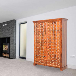 Montana Sheesham Brass Wood Wardrobe