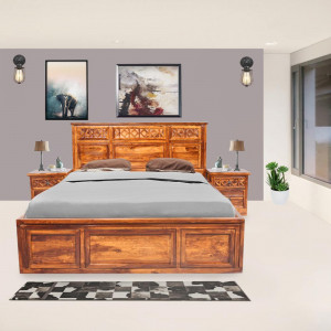 Solid Wood Sheesham Swirl King Size Bed With Top Opening Box