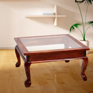 Solid Wood Glass Top Center Table