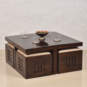 Petlin Coffee Table Set with Four Stools