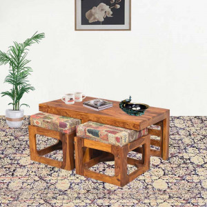 Trendy Coffee Table Set with Two Stools