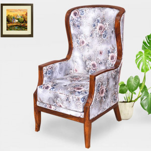 Solid Wood Noel Wing and In Beige Floral Easy Chair