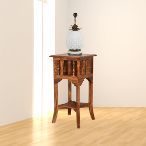 Solid Wood Corner Sheesham Lamp Stand