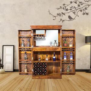 Krisa Solid Sheesham Wood Bar Cabinet