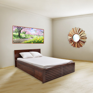 Solid Wood Cambrey Bed With Storage