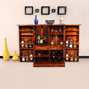 Traditional Design Brass Bar Cabinet