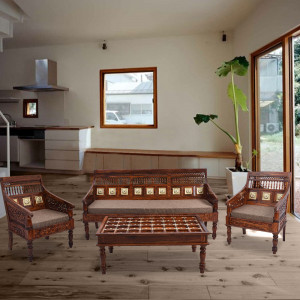 Solid Wood Sheehsam Marwadi Sofa Set