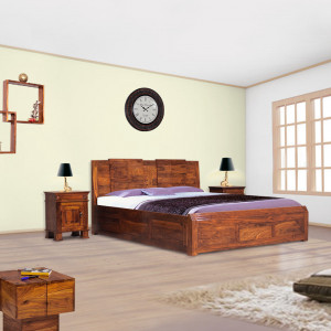 Solid Wood Neeson Sheehsam With Box Bed
