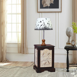 Solid Wooden Walnut Finish Lamp stand