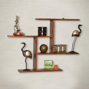 Geometric Wooden Wall Shelf